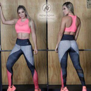 Leggins deportivos de suplex negro blanco rosa - Milena Aldana