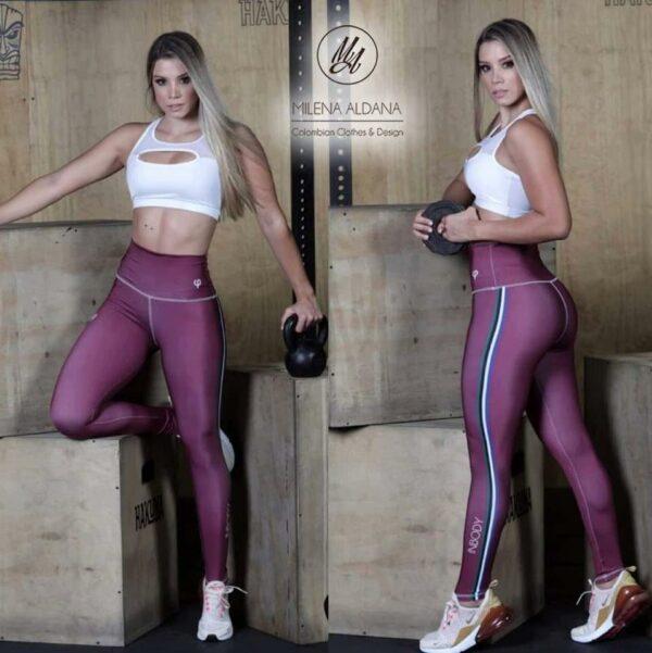 Leggins Deportivos de Suplex Vino - Milena Aldana