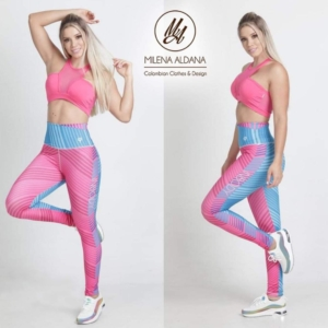 Leggins Deportivos de Suplex Rosa Azul - Milena Aldana