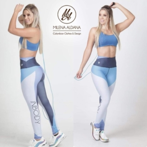 Leggins Deportivos de Suplex Gris Azul - Milena Aldana