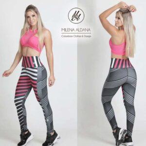 Leggins Deportivos de Suplex Gris Rosa Franjas - Milena Aldana