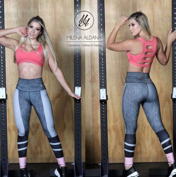 Leggins Deportivos de Suplex Gris Gris Claro - Milena Aldana