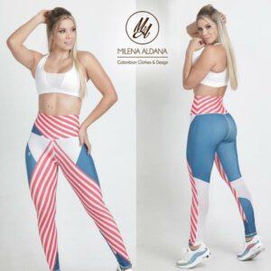 Leggins Deportivos de Suplex Gris Rojo Líneas - Milena Aldana