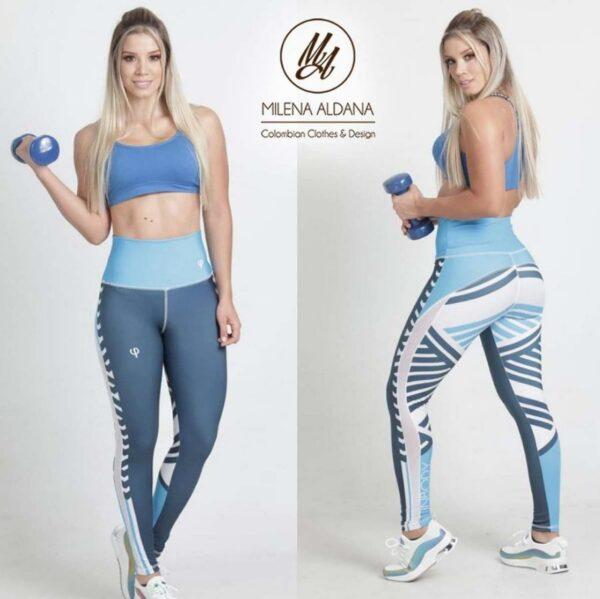 Leggins Deportivos de Suplex Gris Azul Líneas - Milena Aldana