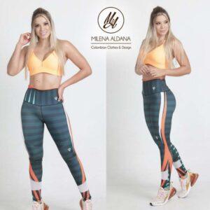 Leggins Deportivos de Suplex Gris Verde Líneas - Milena Aldana