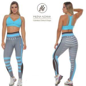 Leggins Deportivos de Suplex Gris Claro Azul - Milena Aldana