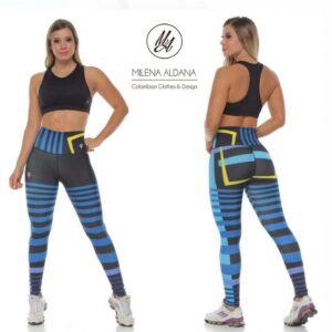 Leggins Deportivos de Suplex Negro Azul Líneas - Milena Aldana