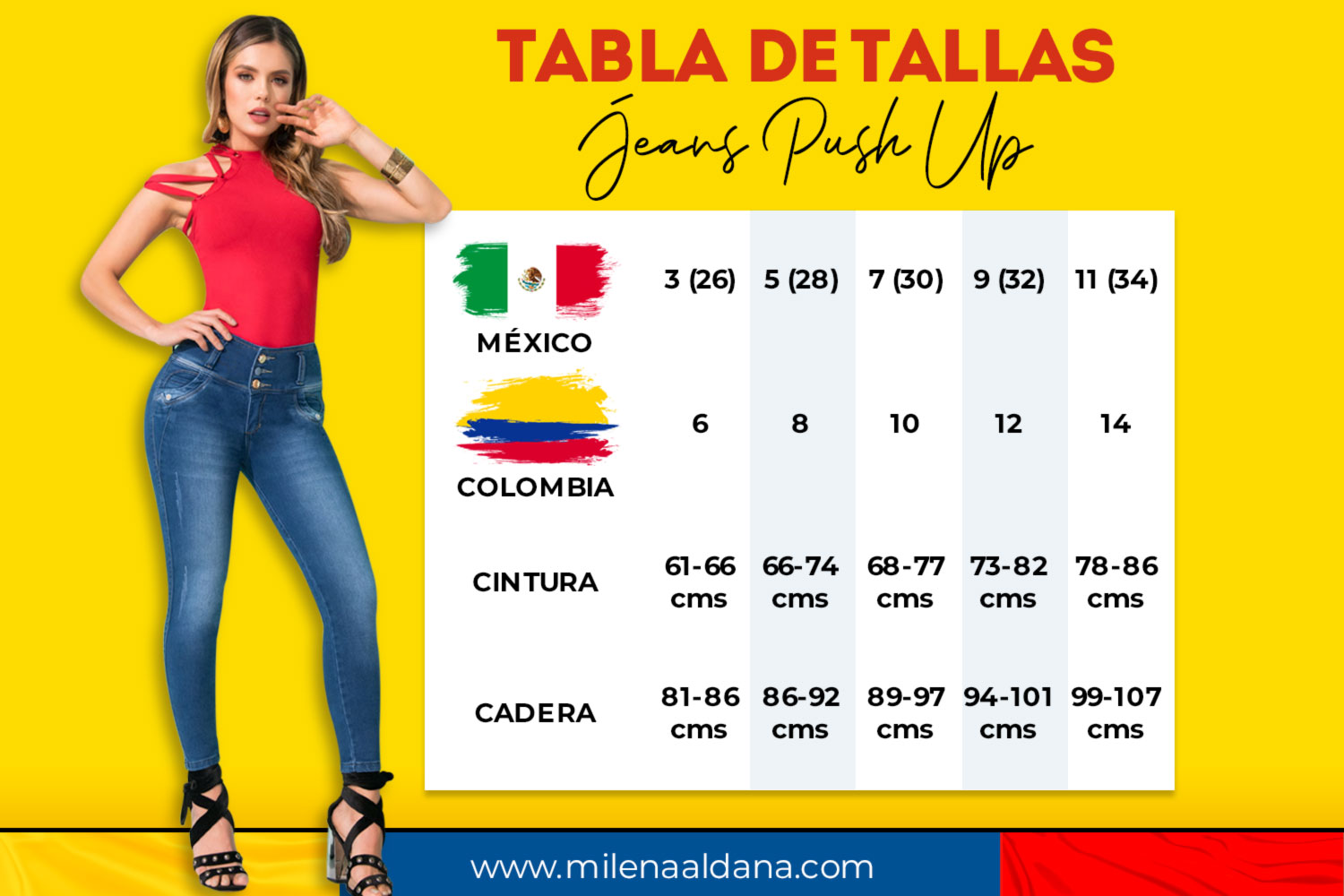 Tallas Jeans Push Up - Milena Aldana